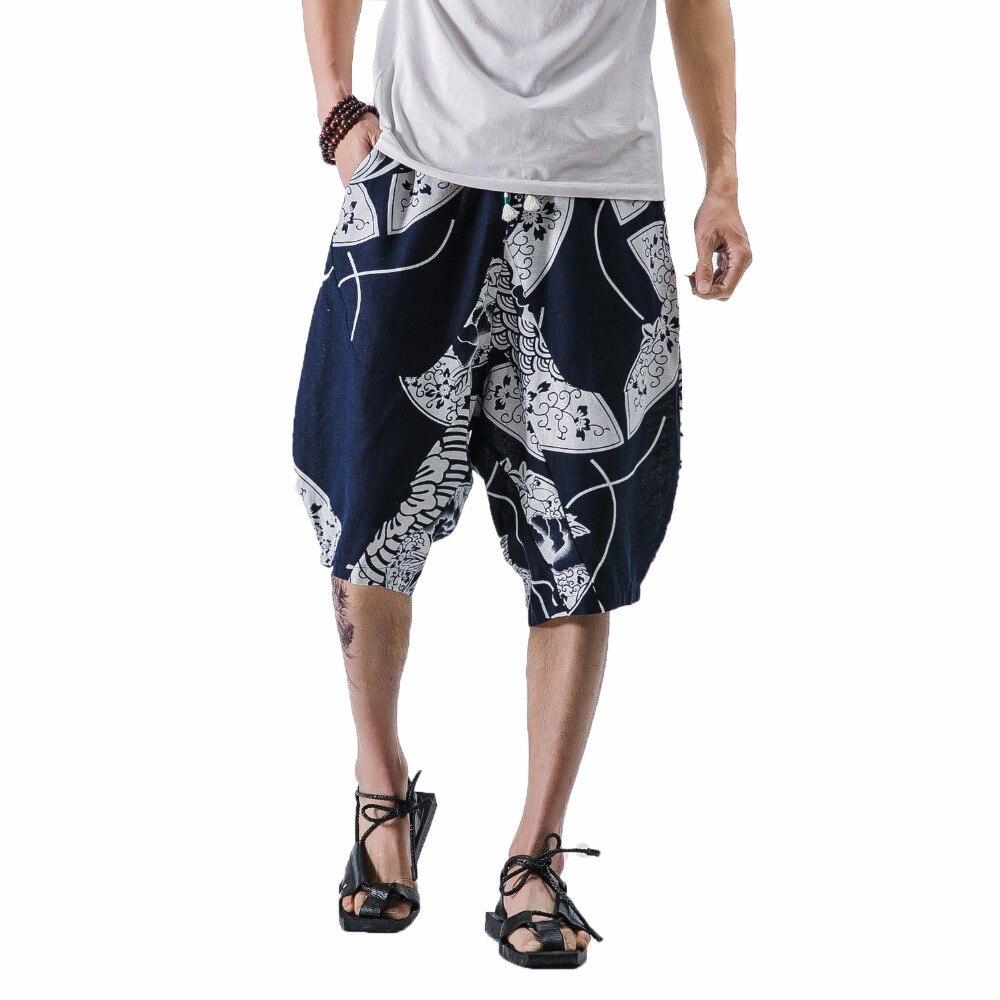 2018 Mens Linen Pants Summer Joggers Loose Cotton Linen Sweatpants Trousers For Men Pattern calf-length pants man wide leg pants