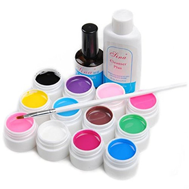 ViewS@ 12pcs Pure Solid UV Gel Builder Nail Art Cleanser Plus Top Coat Set Tips Kit