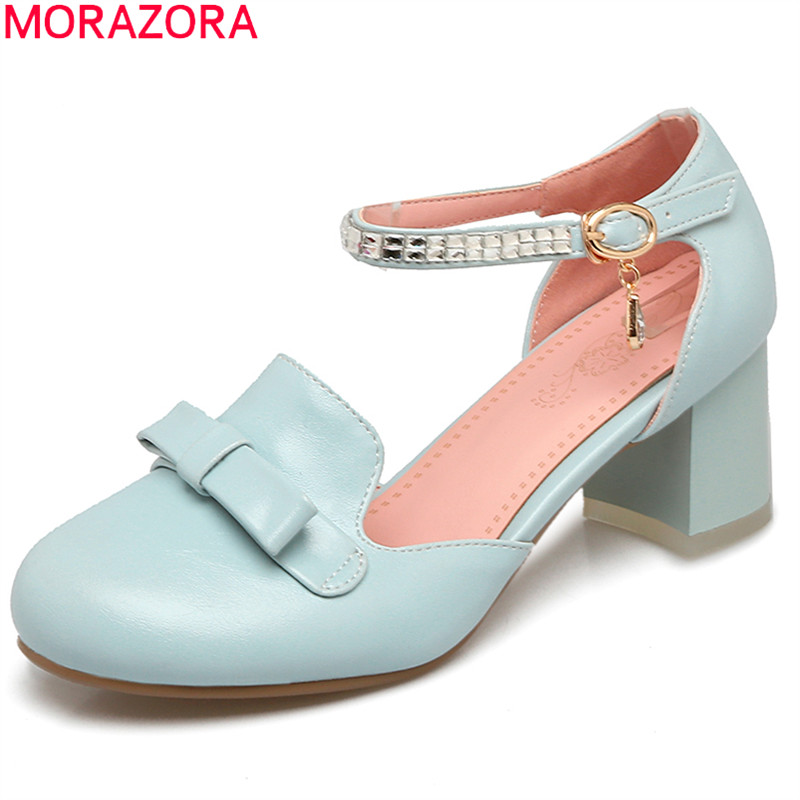 MORAZORA new fashion round toe pumps women shoes with butterfly knot buckle high heels square heel sweet female shoes egonery shoes 2017 spring and autumn concise wedges butterfly knot pumps simple lace up sweet round toe women fashion high heels