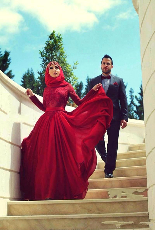 2019 Newest Red A-line Muslim Hijab Evening Dresses Lace High Neck Long Sleeves With Bow Chiffon Floor-length Arabic Formal