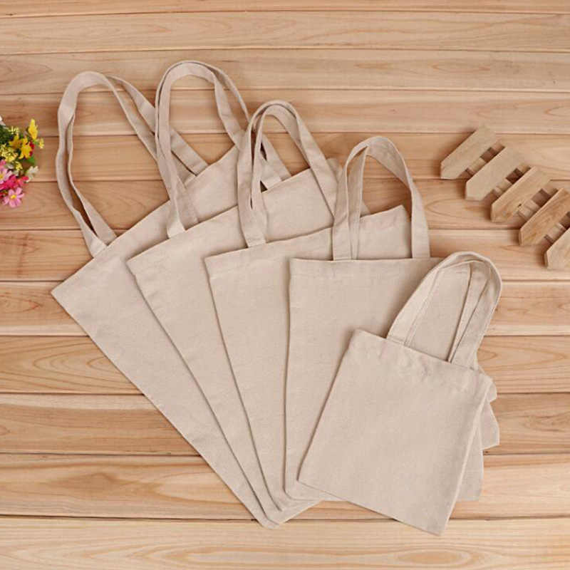 5 Sizes Pure Color Linen Grocery Foldable Bag Shopping Storage Reusable Eco Tote Bag Handbag Casual Shopping Bag