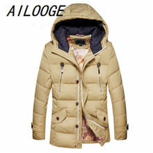 AILOOGE arrive Business Classic Winter jacket Men duck Down Parkas men coat Hooded Thick Warm Outdoors Outwear Overcoat Wadded