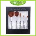 Bqan 5 unids cepillo de dientes forma oval de plata cepillo del maquillaje multiusos profeseyeshadow fundación cosmética kits