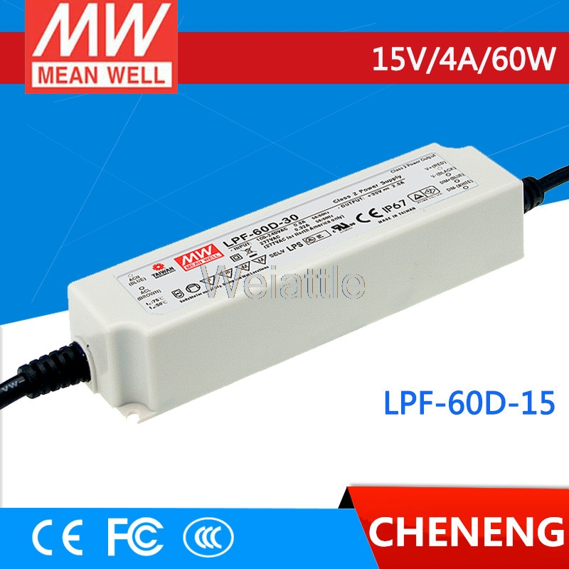 MEAN WELL original LPF-60D-15 15V 4A meanwell LPF-60D 15V 60W Single Output LED Switching Power Supply best selling mean well rs 35 15 15v 2 4a meanwell rs 35 15v 36w single output switching power supply