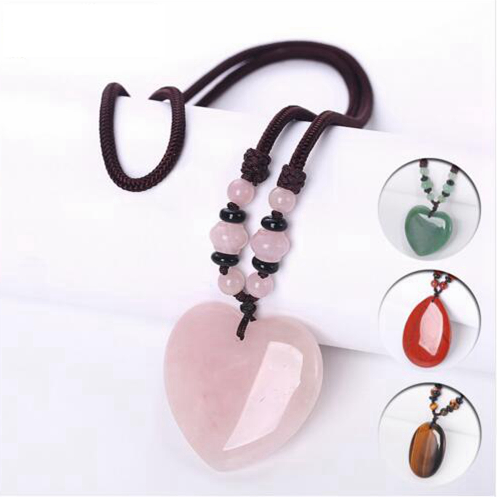 3A Natural Agate Rose Quartz Pendant Women Amber Long Necklace Sweater Chain Heart Love Stone Jewelry Healing crystal Femme Gift
