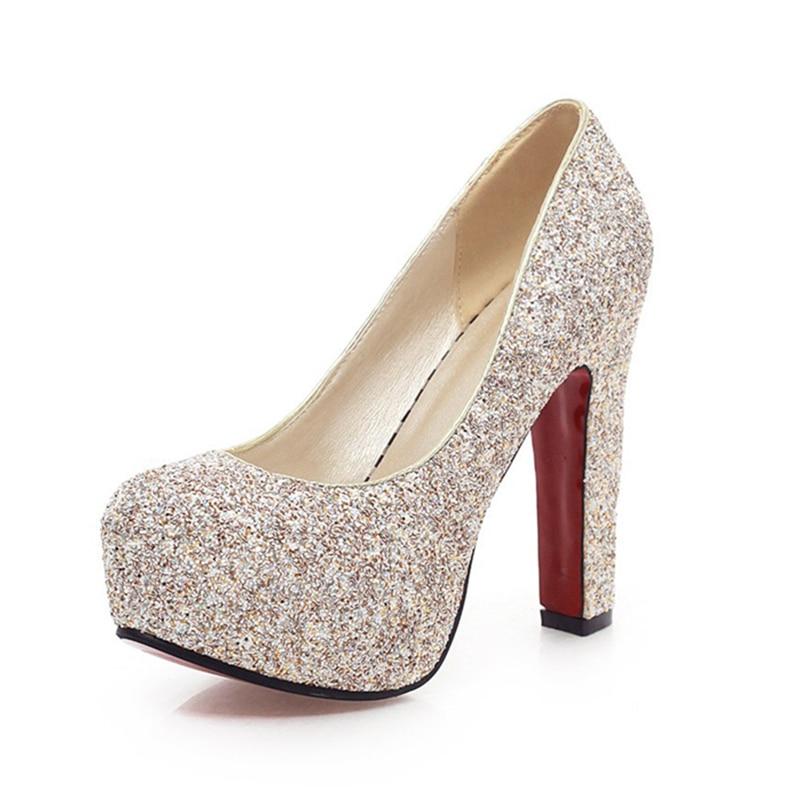 e9c74cb04e6786 En Plate Femmes Sexy 43 Talons Gros Sur Bleu Taille Pompes Hauts Chaussures  À blanc Chic forme Mariage Vente Femme De Grande ...