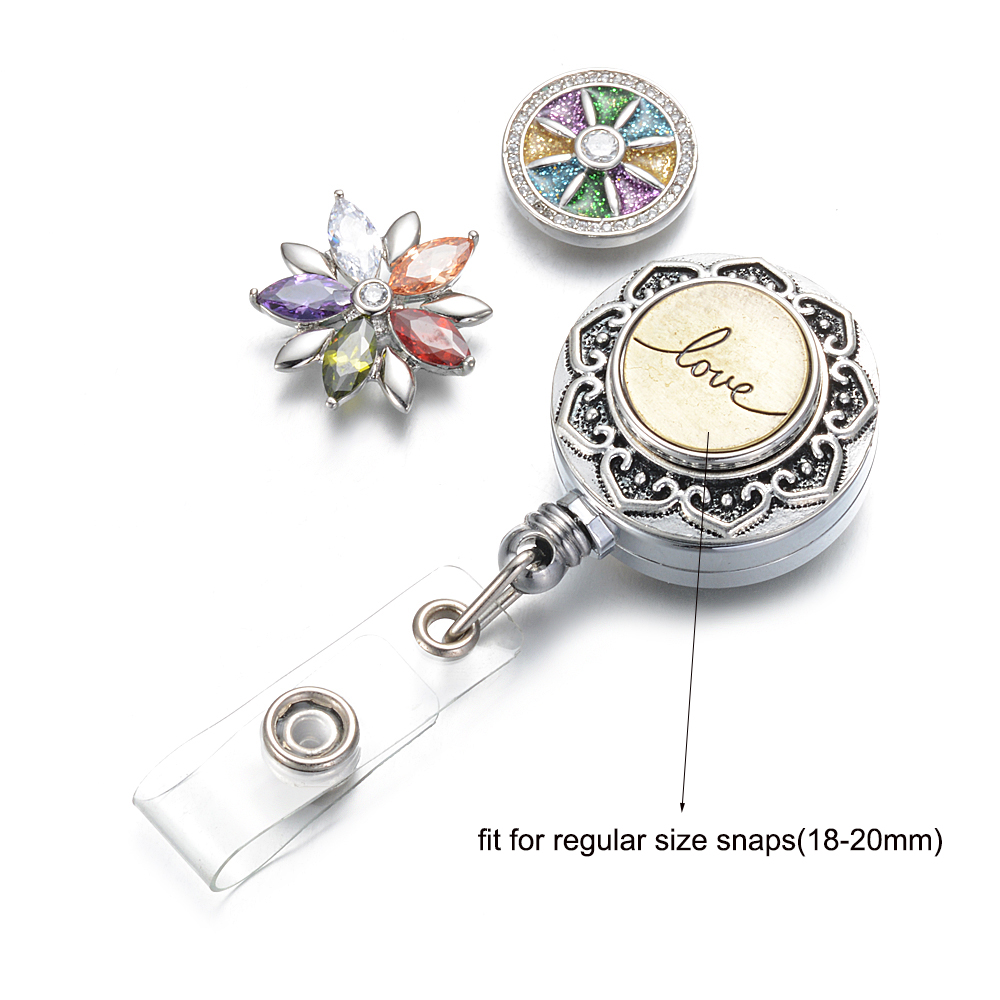 Image 4 - 10pcs/lot Doctor Nurse Snap Button Badge Reel ID holder retractable badge holder interchangeable snap on jewelry fit 18mm snaps-in Pendants from Jewelry & Accessories
