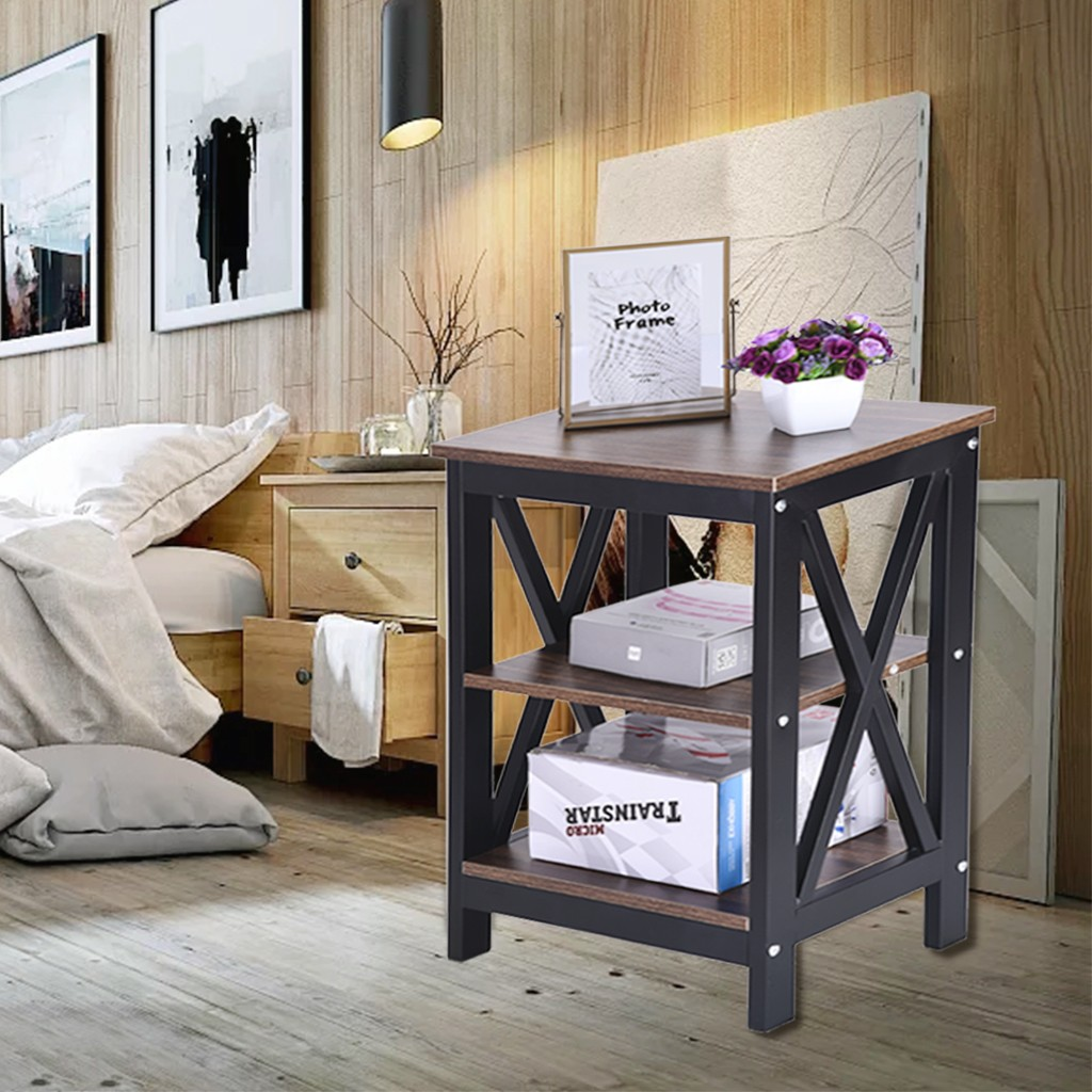 New Best Selling 2019 Products Nightstand Bed Side Table With Storage Sofa End Table With 2 Shelves For Bedroom Dropshipping