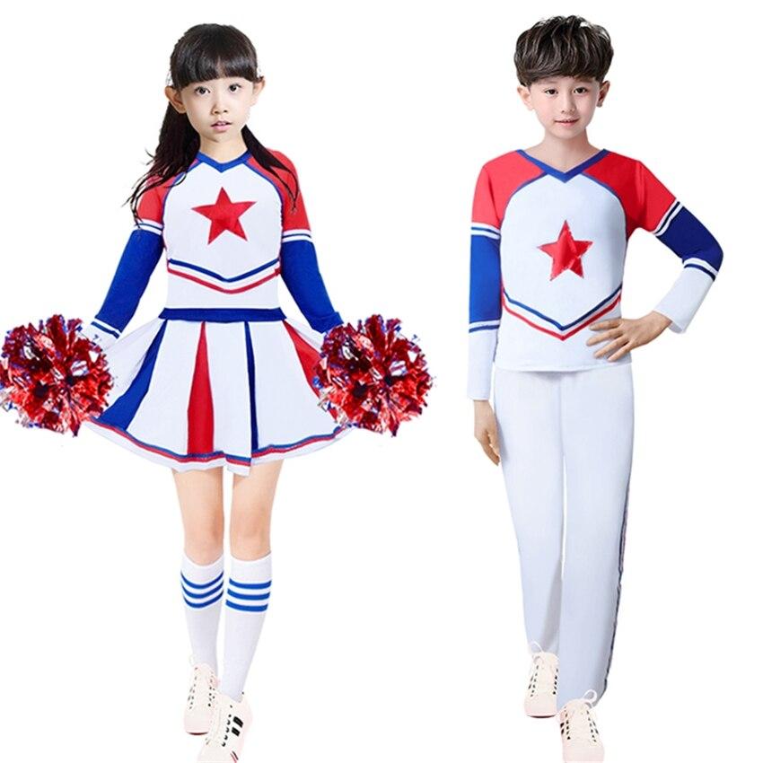 Children Cheerleader Costumes Boys Girls School Team Uniforms Dance Performance Gymnastics Games Cheer Kids Teenager Clothing