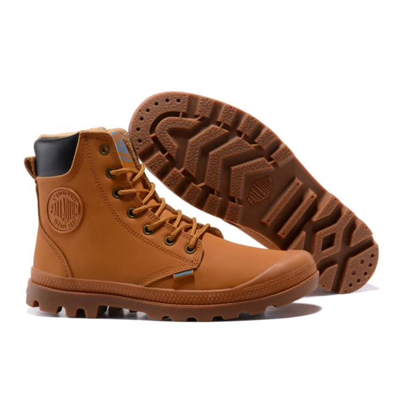 PALLADIUM Pallabrouse Brown Men High-top Military Ankle Boots Canvas Walking Shoes Hot Sale Eur Size 39-45 hot sale 2016 top quality brand shoes for men fashion casual shoes teenagers flat walking shoes high top canvas shoes zatapos