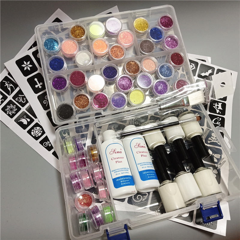 Obedient 45 Colors Powder Glitter 6 Glues 2 Brushes 5 Hollow Template 2 Remove Water Kit For Temporary Tattoo Kids Face Diy Nail Body Art Yet Not Vulgar
