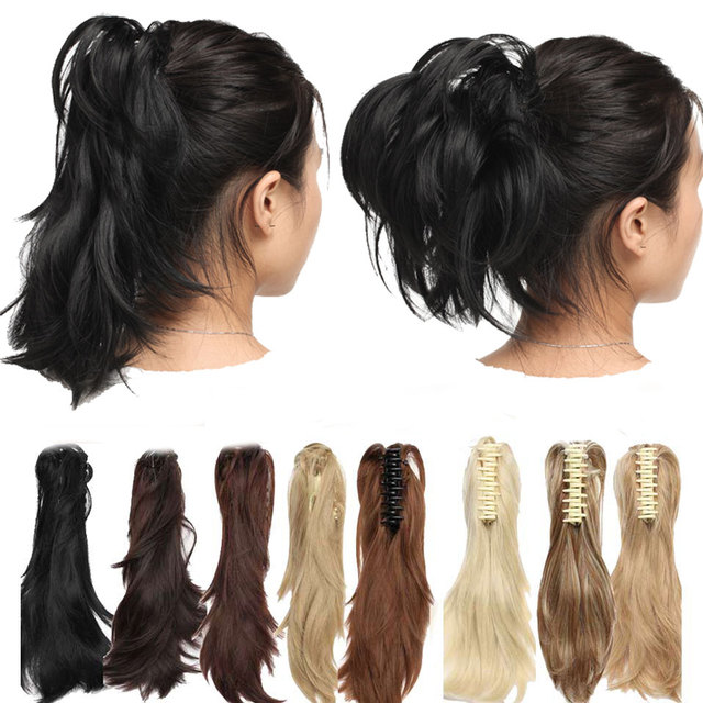 12″ DIY Short Wavy Ponytail Hair Extensions Claw Ponytails Synthetic Hair