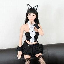 Taille réaliste de la vie cosplay femme de chambre amour poupée amour poupée 158cm réel silicone avec métal squelette sexe poupée Masturbati produits sexuels