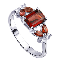 Natural Red Garnet Emerald Cut Ring 925 Sterling silver Woman Fashion vintage plant Jewelry Handmade Birthstone Gift sr1493g