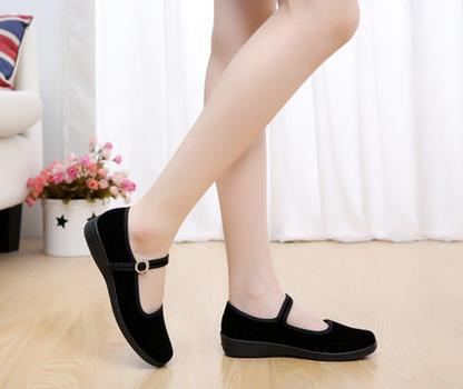 Cotton-made beijing  women'swork shoes casual shoes mother shoes flat shoes single quinquagenarian black spring and managing projects made simple
