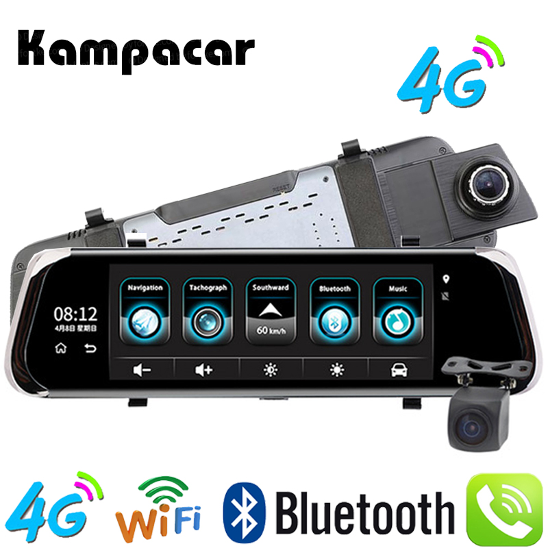 Kampacar 4G Android Car DVR 10 Inch Rear View Camera GPS Tracker Navigator Mirror With A Recorder 2 ADAS Bluetooth WIFI Dash Cam