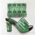 2016 Latest Design African Shoes And Bags Italian Matching Shoe And Bag Set Nigerian High Heels TT01 Green  color.