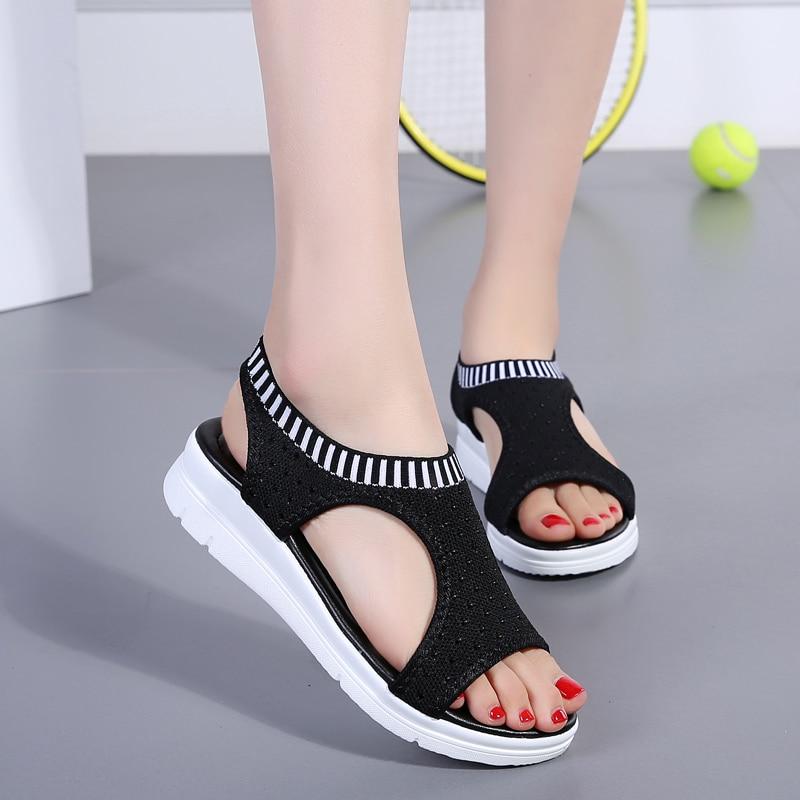Women Sandals 2019 New Female Shoes Woman Summer Wedge Comfortable Sandals Ladies Slip-on Flat Sandals Women Sandalias