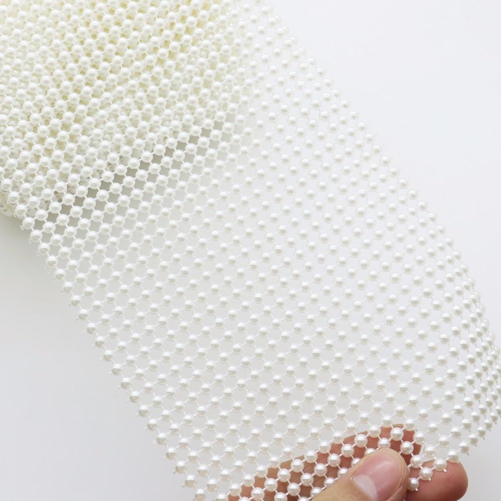 12cm 1m ivory pearl Effect Rhinestone wedding Cake Decoration Costume Ribbon