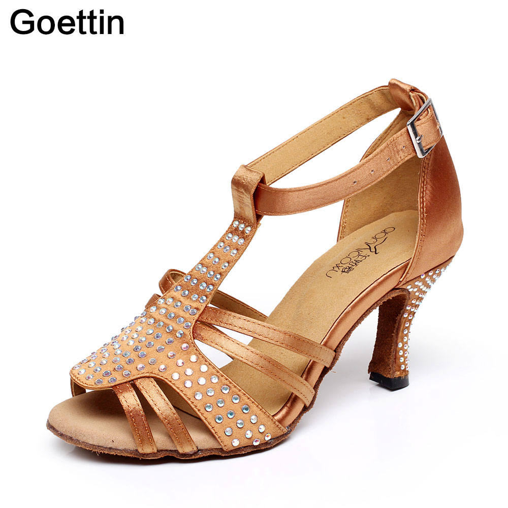 Goettin marca 7057 bronzo marrone 7,5 centimetri Heel Salsa Party Ballroom Shoes scarpe da ballo latino per le donne
