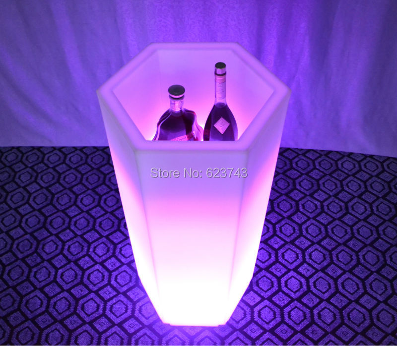 Waterproof Multi-Colors TORK LED Light OPEN CUBE Champagne Ice Bucket Rechargeable luminous glowing LED Flower Pot Y-POT LIGHT