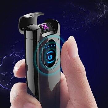 2019 Double Pulsed Arc Lighter USB Charge Electric Lighters for Cigarette Lighter Men Electronic lighter Boyfriend Gift