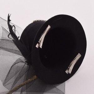 Image 5 - Donne Steampunk Top Cappello Nero Mini Clip di Capelli Accessori Per Capelli