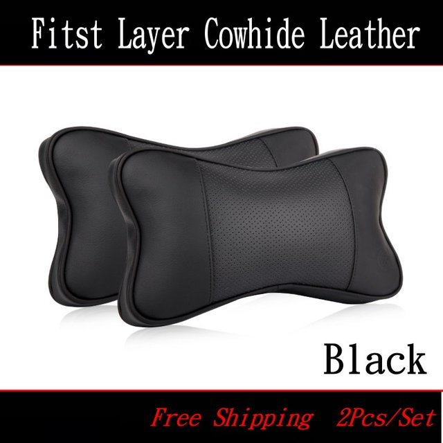 For Cadillac Leather neck seat cushion pillow / Car headrest / head neck cervical vertebra pillow / Genuine leather car supplies