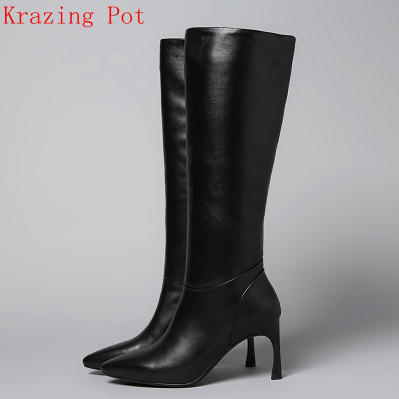 Krazing Pot new arrival superstar genuine leather high heel pointed toe zipper fashion winter boots runway Knee-High boots L09