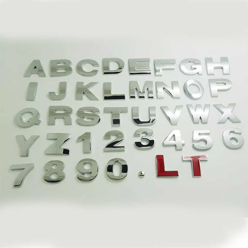 Araba 25mm 3D Metal arap numarası/ingilizce mektup/1234567890 ABCDEFGHIGKLMNOPQRSTUVWXYZ dijital DIY rozeti logosu dekorasyon çıkartmaları