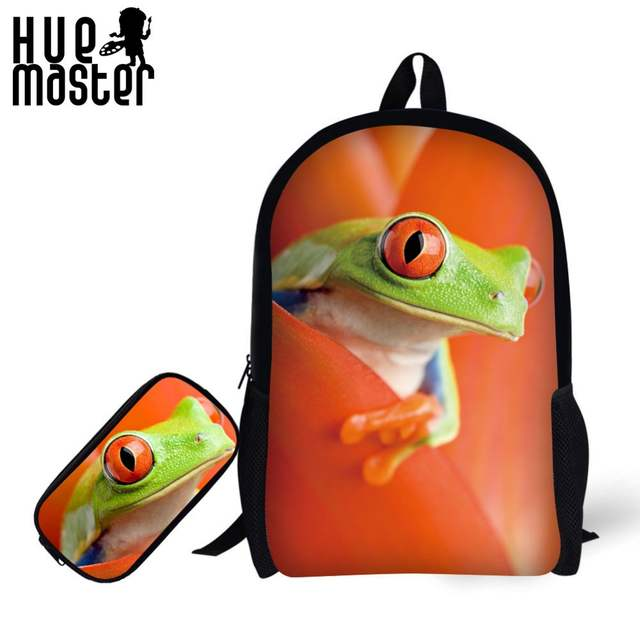 2dd399556f45 US $24.74 25% OFF|17 inch School backpack pencil combination 3D Frog image  printing learning combination school bags pencil bag for girls boys kid-in  ...