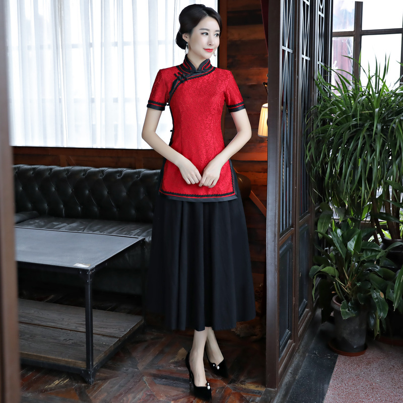 C Las Vintage F style Mujeres Style Encaje Mujer Show De Camisa Chinas Clásica Negocio Tang D style Ropa A Blusa Stage style G style style Noche Top Flor B H style style E fBrfCxwq7