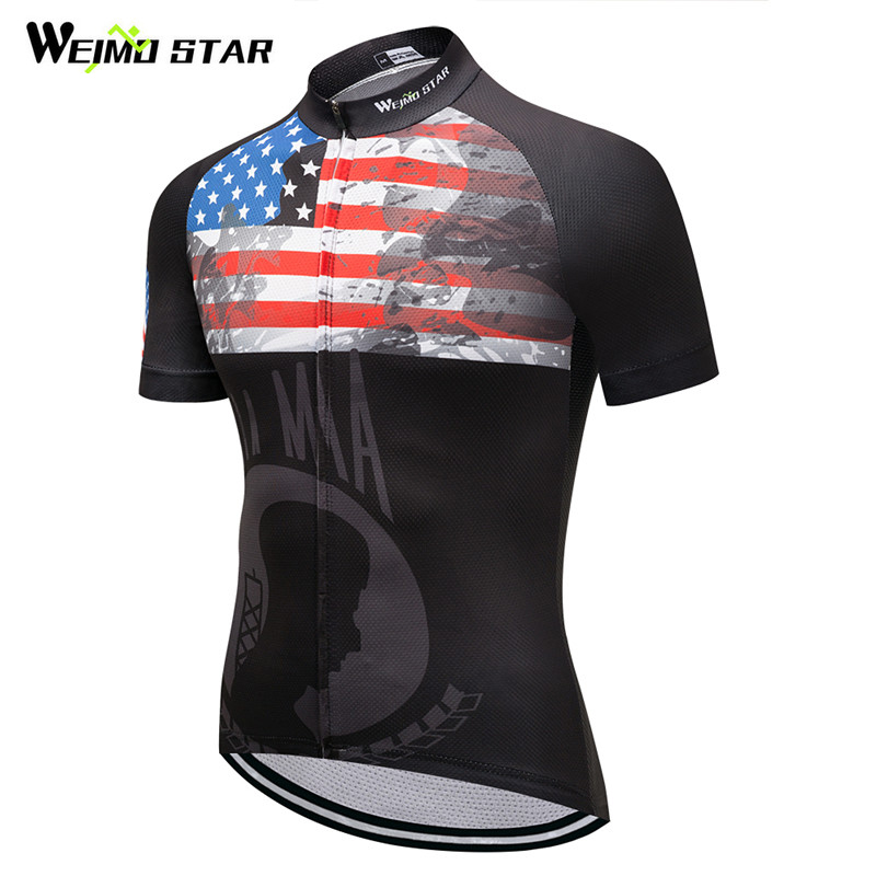 Weimostar Bike Team Racing Sport Cycling Jersey USA Style Breathable Cycling Clothing Maillot Ciclismo mtb Bicycle Jersey Shirt