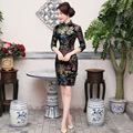 TIC-TEC women cheongsam short qipao chinese traditional dress oriental dresses Carved velvet vintage party fashion clothes P2876