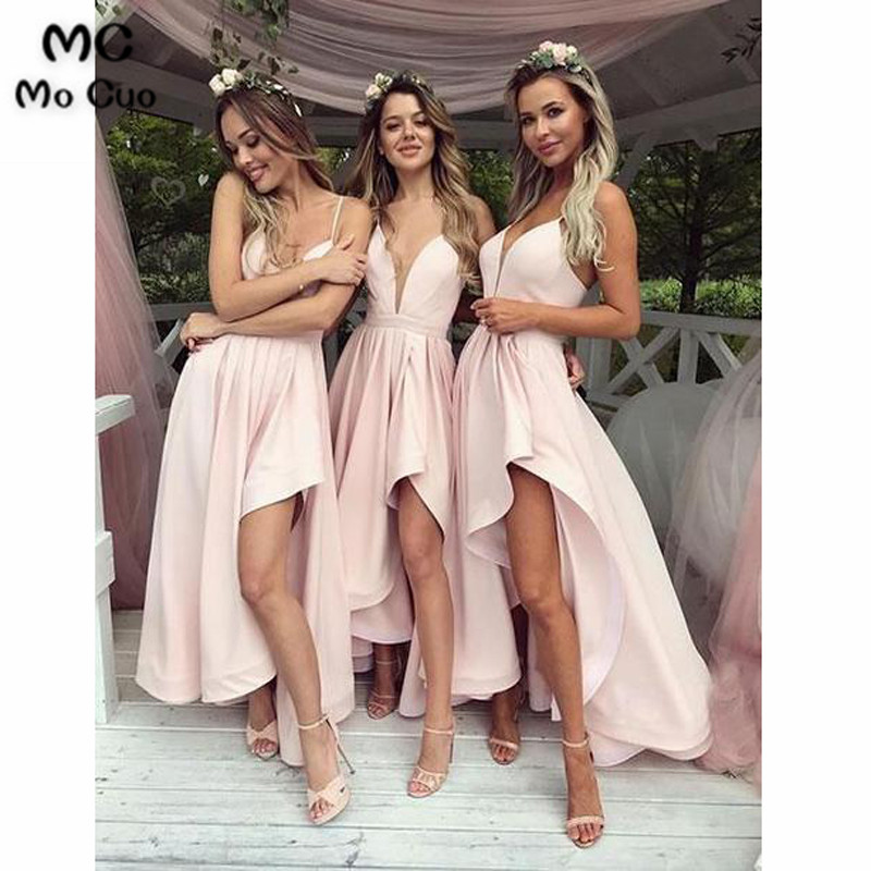 2019 Light Pink Bridesmaid Dresses Deep V-Neck Spaghetti Straps Satin Hi Lo Gown Wedding Party Dress Bridesmaid Dress