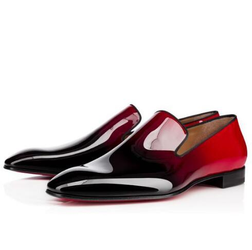Chaussure Femme Mens Dress Loafers Shoes HOT Top Quality Red Bottoms Dandelion Flats Black   Suede   Patent   Leather   Gradient Quality