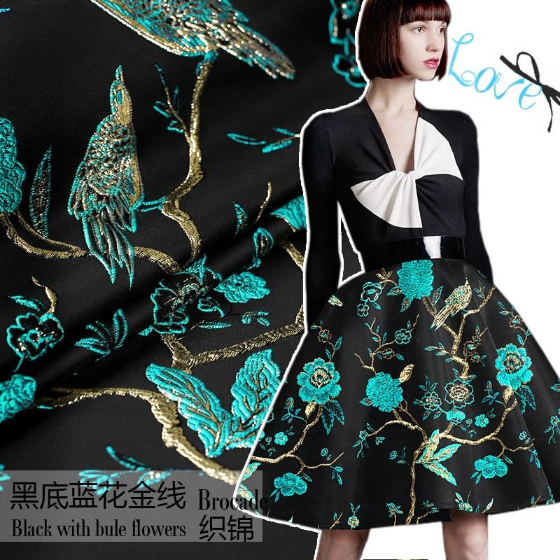 """Auksinė linija """"Sky"""" mėlyna paukščių žakardo brokada plush audinys suknelės paltui audi au metras pigus audinys"""
