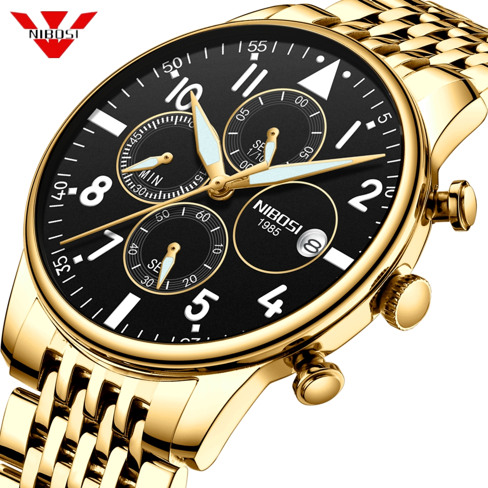 NIBOSI Mens Watches Top Brand Luxury Chronograph Men's Wristwatch Clock Quartz Fashion Men Watch Waterproof Relogio Masculino