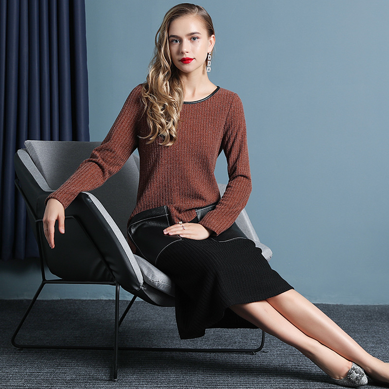 Autumn Women's Dresses Long Sleeve Leather Stitching Knitted Bottom Dress