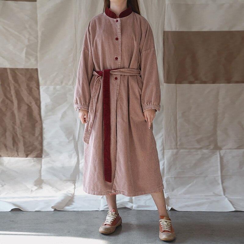 Johnature Women สีชมพู Corduroy ผ้าพันคอ Vintage Robes 2019 ฤดูใบไม้ผลิใหม่แขนยาวขาตั้งปุ่มคุณภาพสูงชุด-ใน ชุดเดรส จาก เสื้อผ้าสตรี บน   1