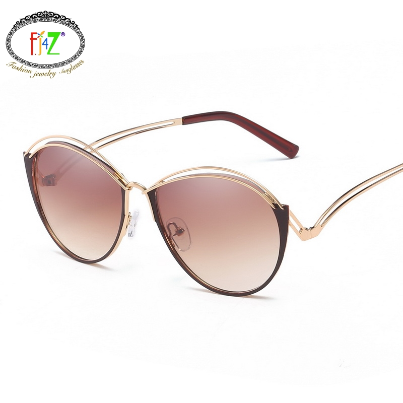 F.J4Z Hot Comfortable Gradual Color Lens Outdoor Sunglasses For Women Metal Frame Rimless Shades Glasses For Men Casual Driving