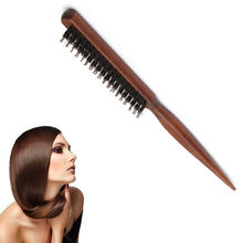 Wood Handle Natural Boar Bristle Hair Brush Fluffy Comb Hairdressing Barber