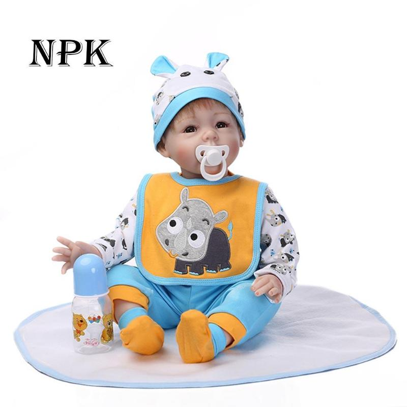NPK 55cm Reborn Baby Doll Lifelike Newborn Doll Realistic Soft Silicone Babies Girl Boneca Toys with Nipple Bottle Kids Playmate ...