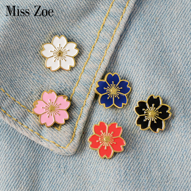 279a7f31cdc Miss Zoe 5pcs/set Cherry Blossoms Flower Brooch Pins Button Pins Denim  Jacket Pin Badge Japanese Style Jewelry Gift for Girls