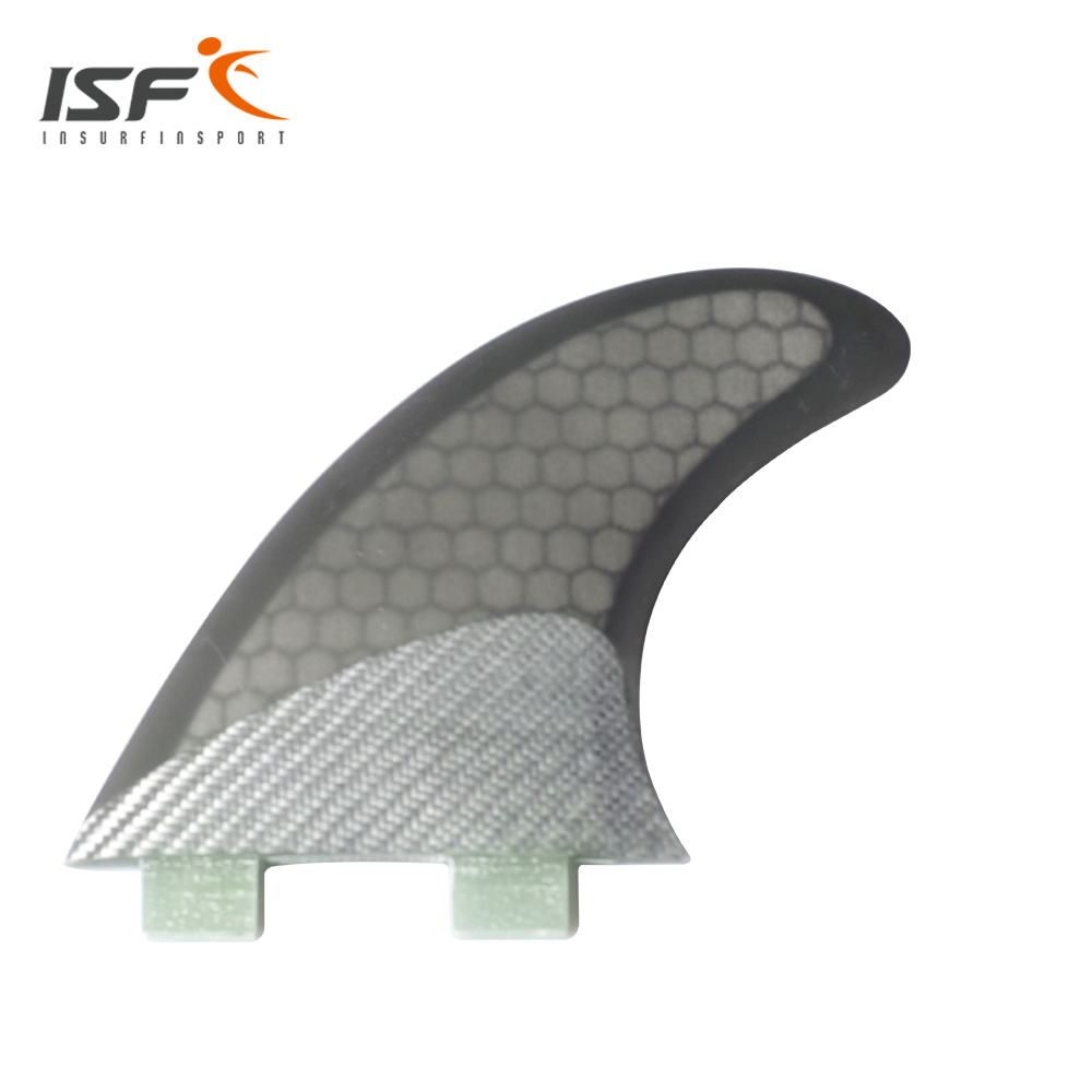 Insurfin Surfboard Fins Thruster grey carbon fin Set (3) FCS Compatible Carbon Black M5 Surf Fin