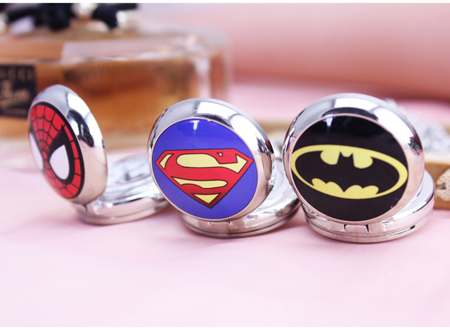 3style Superman Batman spiderman Pocket Watch with Necklace Chain Fashion Steamp