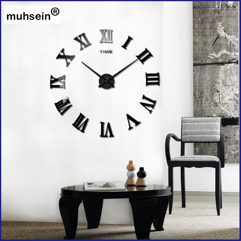 2019  New Arrival Quartz Clocks Fashion Watches 3D Real Big Promotion Home Decor Large Roman Mirror Fashion Modern Wall Clock