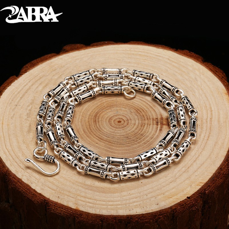 цена на ZABRA Real 925 Sterling Silver 4mm 60cm Bamboo Shape Men's Long Necklace Vintage Steampunk Retro Link Chain Cool Silver Jewelry