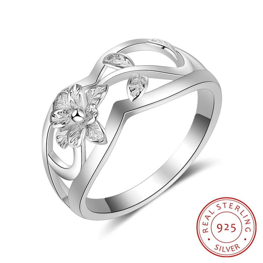 925 sterling sølv ringe til kvinder blomster bladform hul ringe mode - Mode smykker