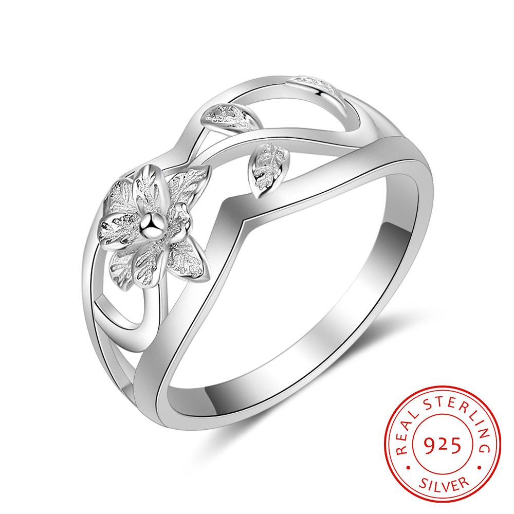 925 Sterling Silver Rings For Women Flowers Leaf Shape Hollow Rings Fashion Women Silver Jewelry Gift For Party(RI102756)
